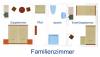 Grundriss Familien-Kombination mit Doppelbett und Einzelbetten